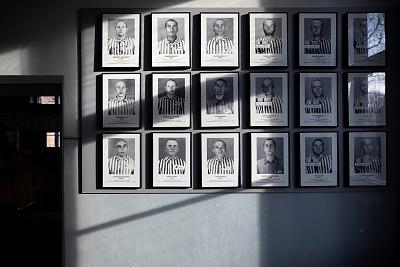 Pictures of prisoners are displayed in the former Nazi German Auschwitz concentration camp complex in Oswiecim, Poland.