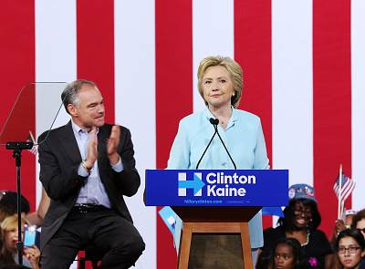 Hillary Clinton and 2016 Democratic vice presidential candidate Tim Kaine attend together a campaign rally in Miami on July 23, 2016.