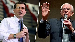 Democratic presidential candidates Pete Buttigieg, left, and Sen. Bernie Sa