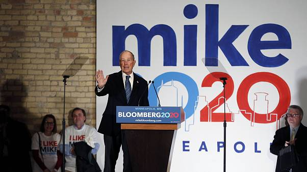 Democratic presidential candidate Michael Bloomberg speaks to supporters in