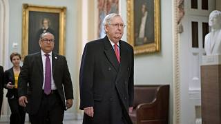 Senate Majority Leader Mitch McConnell arrives for the impeachment trial of