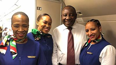 [Photos] South Africa president opts for commercial flight on official trip