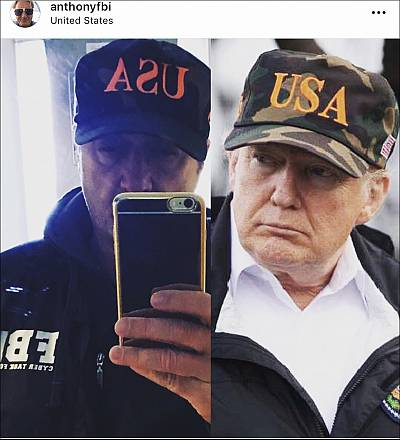 Photos from Anthony de Caluwe\'s Instagram account, \'anthonyfbi,\' show de Caluwe in an FBI jacket next to a photo of Donald Trump.
