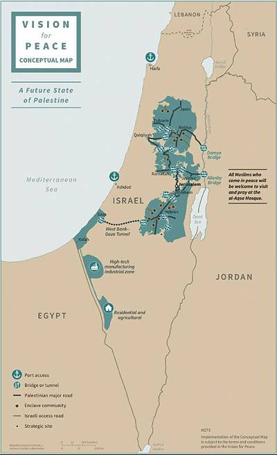A map depicts the proposed future states of Israel and Palestine.
