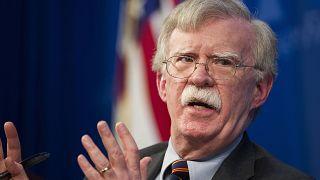 Image: National security adviser John Bolton talks at the Heritage Foundati