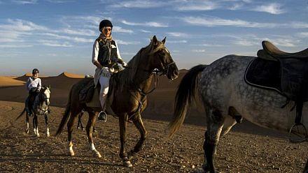Des étalons dans une tempête de sable: défi équestre dans le désert [No Comment]