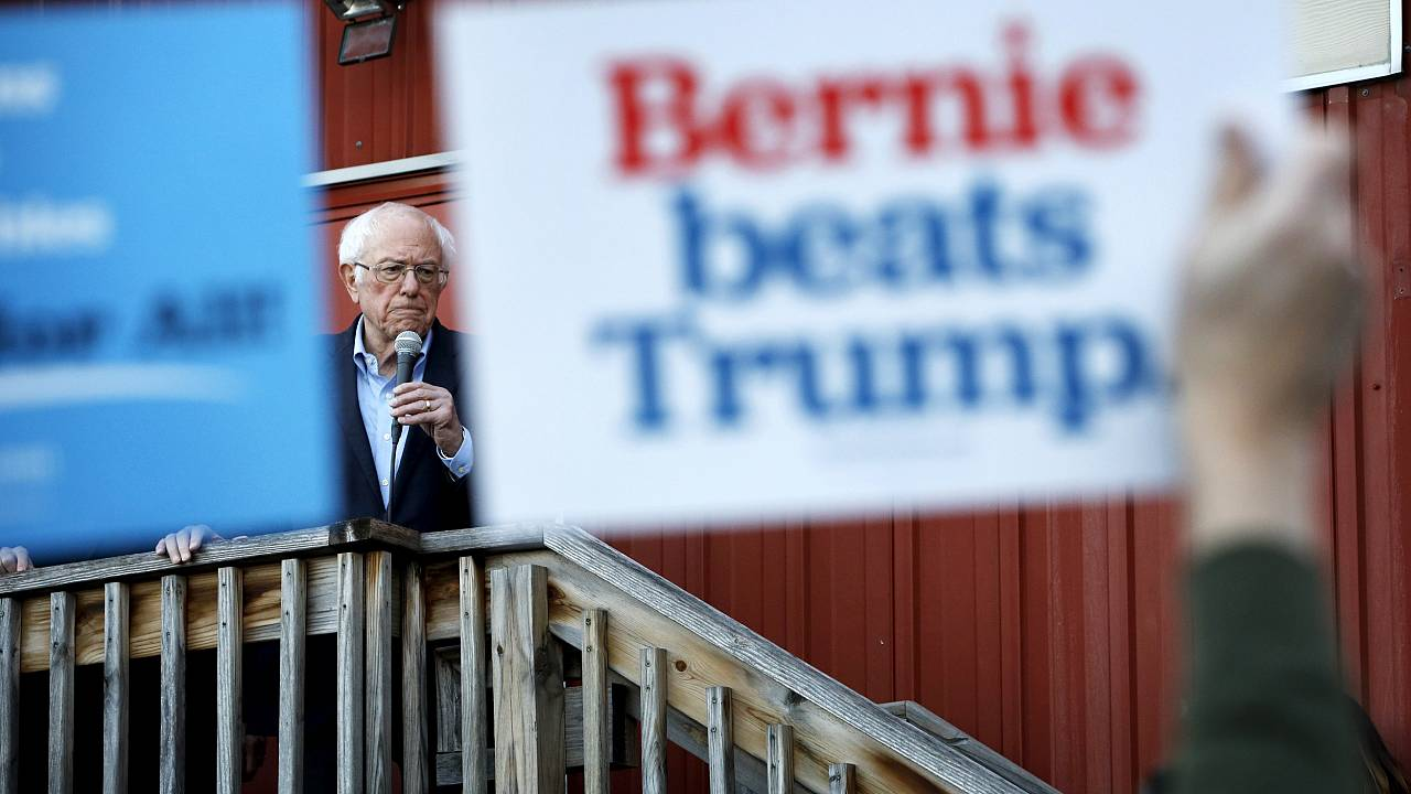 Image: Sen. Bernie Sanders, I-Vt., speaks at a campaign event in Des Moines