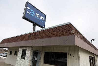 An exterior view of the Iowa Democratic Party headquarters in Des Moines, Iowa on Feb. 4, 2020.