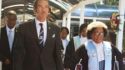 Botswana President addresses rally in hometown before leaving office