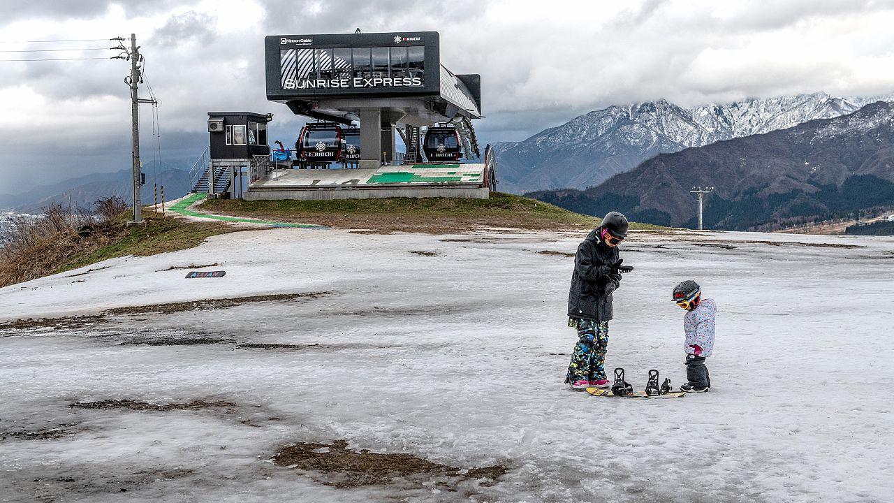 Image: Japan's Lack Of Snow Hits Ski Season