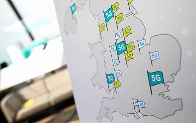 A map showing the rollout points for BT Group Plc\'s EE 5G network sits on display following a news conference in London on May 22, 2019.