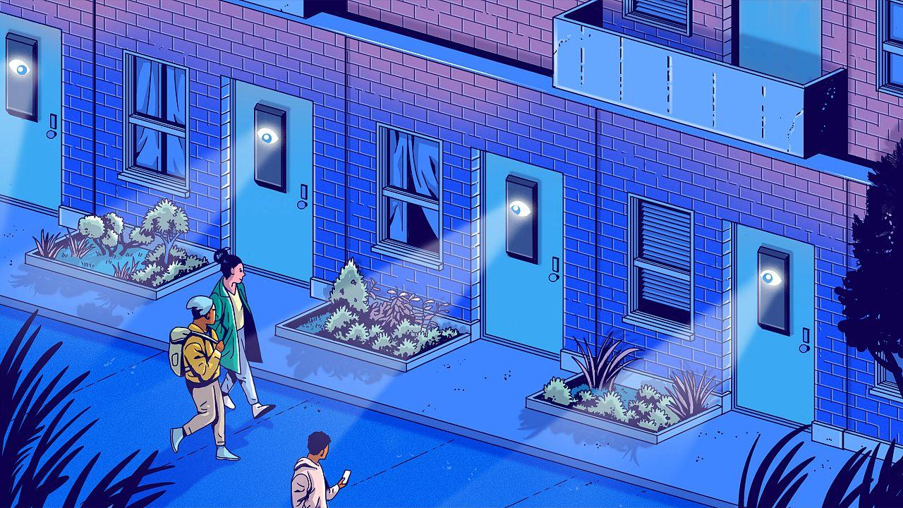 Illustration of huge eyes on Ring cameras watching a neighborhood.