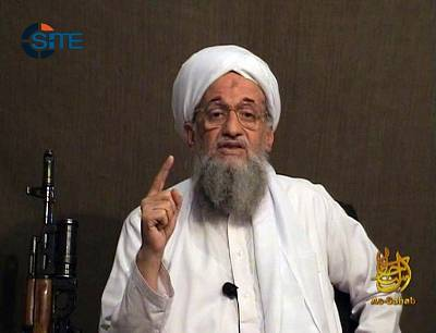 This image provided by SITE Intelligence Group shows Ayman al-Zawahri as he gives a eulogy for fellow al-Qaeda leader Osama bin Laden in a video released on jihadist forums on June 8, 2011.