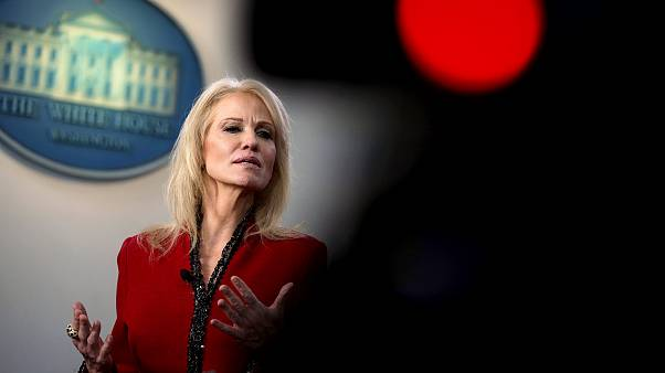 Image: White House senior counselor Kellyanne Conway speaks to the media in