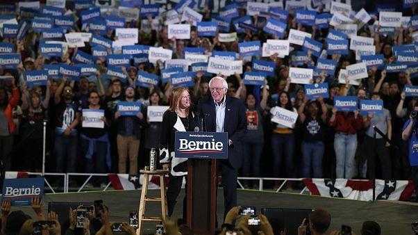 Image: Democratic presidential candidate Sen. Bernie Sanders, I-Vt., jokes