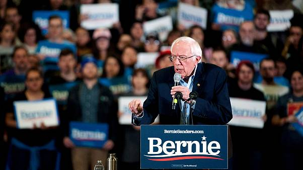 Image: Democratic presidential candidate Vermont Senator Bernie Sanders add