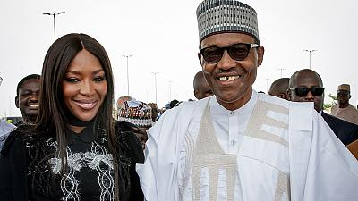 [Photos] Nigeria President grants Naomi Campbell photo opportunity in Lagos