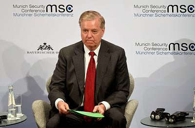 Sen. Lindsey Graham, R-S.C., takes part in a panel discussion at the 56th Munich Security Conference in Munich on Friday, Feb. 14, 2020.