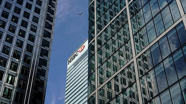Image: The HSBC bank in the financial district of Canary Wharf in London, B