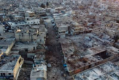 An aerial view shows the town of Atareb in the rebel-held western countryside of Syria\'s Aleppo province on Feb. 18, 2020, as regime forces push on with their offensive in the country\'s northwest.