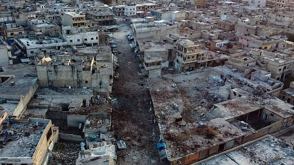 Image: An aerial view shows the town of Atareb in the rebel-held western co