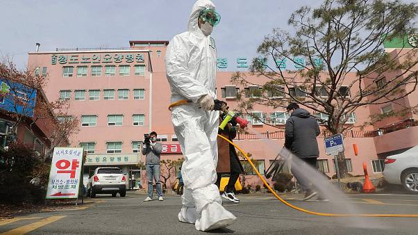 Image: A South Korean health official sprays disinfectant in front of a hos