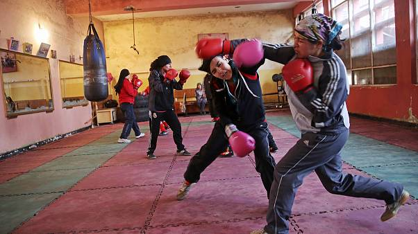 Image: Afghan women boxers