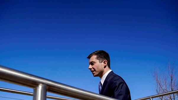 Image: Pete Buttigieg arrives for a roundtable with environmental activists