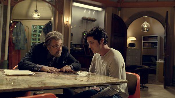 "Image: Al Pacino and Logan Lerman in a scene from Amazon's ""Hunters."""