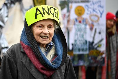 Fashion designer Vivienne Westwood joins supporters outside Belmarsh Prison in London prior to the extradition hearing of WikiLeaks founder Julian Assange on Monday.