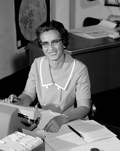 NASA space scientist and mathematician Katherine Johnson at Langley Research Center in Va. in 1966