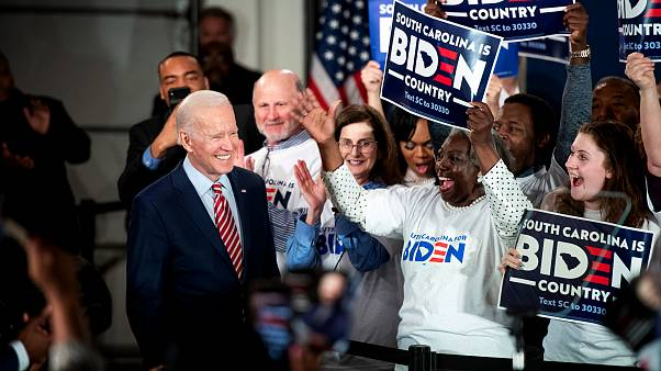 Image: Joe Biden arrives for a campaign launch party in Columbia, S.C., on