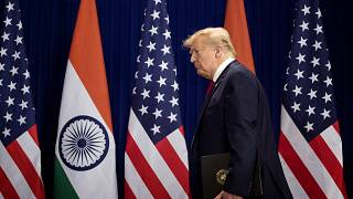 Image: President Donald Trump arrives for a news conference in New Delhi on