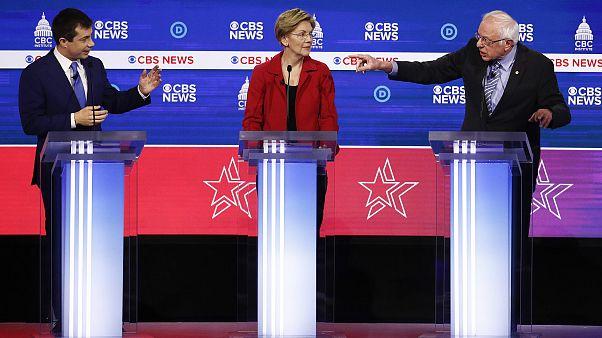 Image: Pete Buttigieg, Elizabeth Warren, Bernie Sanders