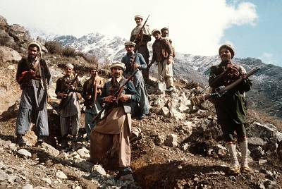 Afghan anti-Soviet resistance fighters with their primitive arms in the eastern parts of the country in the early 1980s.