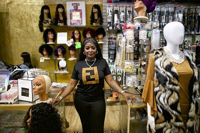 Ashley Myers, 35, in her beauty store on Main Street in Orangeburg, S.C.