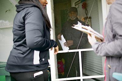 "Tawanya Herbert, left, canvasses for ""Medicare for All"" in North Charleston, S.C."