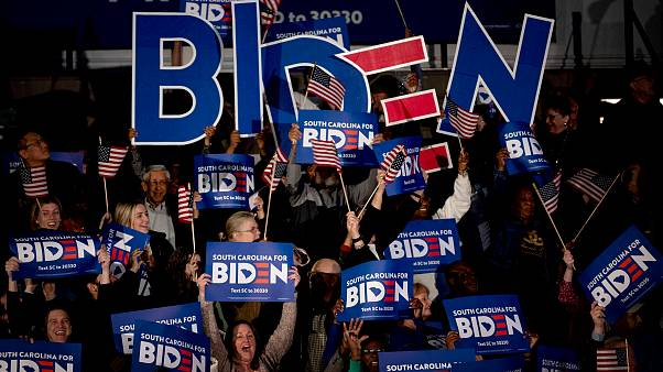 Image: Supporters cheer for Joe Biden as polls close in South Carolina on F