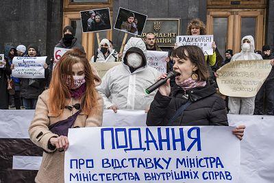 Activists demand the resignation of Internal Affairs Minister Arsen Avakov at the President\'s Office in Kyiv, Ukraine.