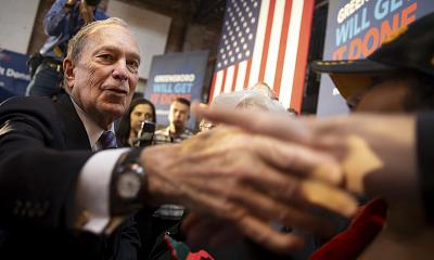 Democratic presidential candidate Michael Bloomberg speaks to supporters during his visit in Greensboro, N.C., on Feb. 13, 2020.