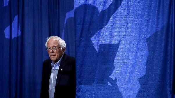 Image: Sen. Bernie Sanders arrives for an election rally in Essex Junction,