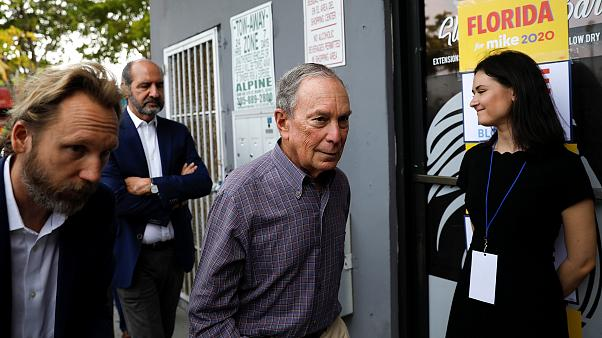 Image: Democratic presidential candidate Michael Bloomberg arrives at his c