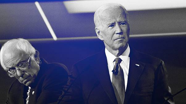Image: Sen. Bernie Sanders and Joe Biden at a Democratic primary debate in