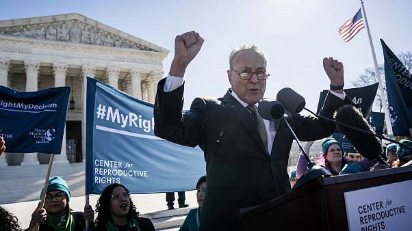 Image: Sen. Chuck Schumer, D-N.Y., speaks at a reproductive rights rally ou