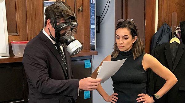 Florida Congressman Matt Gaetz wears gas mask for COVID-19 vote