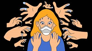 Illustration of woman wearing mask starting at her own hands while ghost ha