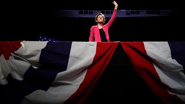 Image: Sen. Elizabeth Warren speaks during a campaign event in Keene, N.H.,