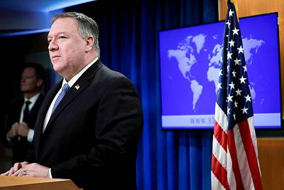 Secretary of State Mike Pompeo delivers remarks to the media at the State Department in Washington on March 5, 2020.