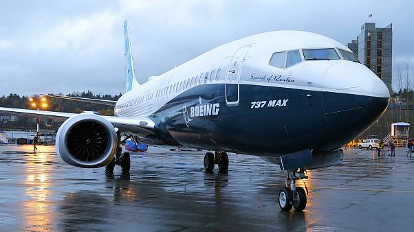 Image: The first Boeing 737 MAX airplane to roll off Boeing's assembly line