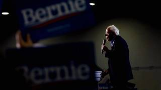 Image: Sen. Bernie Sanders speaks at a campaign rally in Detroit, Mich., on